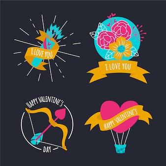 Set di disegnati a mano san valentino etichetta e badge collection