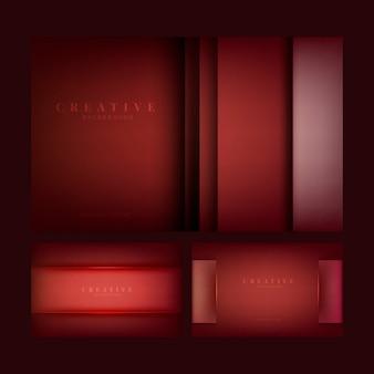 Set di disegni creativi astratto sfondo in rosso scuro