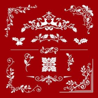 Set di disegni decorativi di natale per il vettore di carte