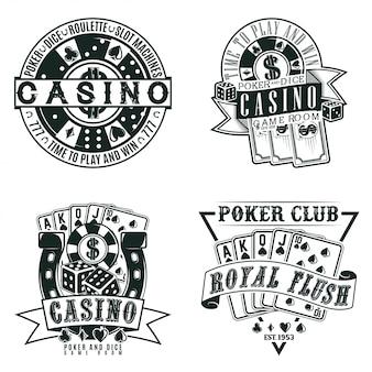 Set di disegni del logo del casinò vintage, francobolli di stampa grange, emblemi di tipografia del poker creativo,