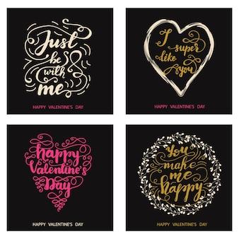 Set di disegni di auguri per san valentino con lettering. illustrazione vettoriale