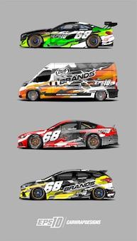 Set di disegni di avvolgenti per auto