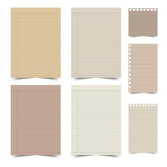 Set di disegni di carta vintage su sfondo bianco.