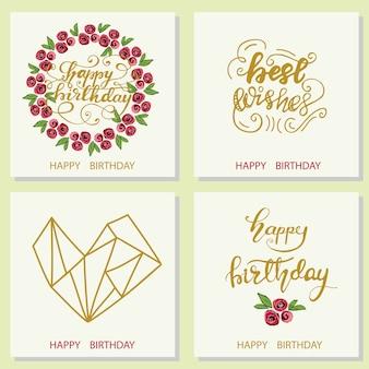Set di disegni di cartolina d'auguri con lettering buon compleanno. illustrazione vettoriale