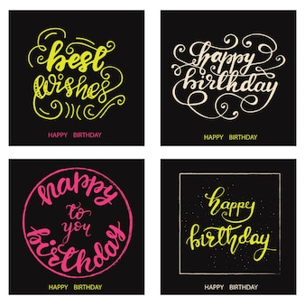 Set di disegni di cartolina d'auguri di compleanno con lettering. illustrazione vettoriale