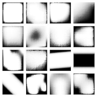 Set di disegni di effetti mezzitoni monocromatici