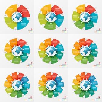 Set di disegni di infografica grafico cerchio con globo
