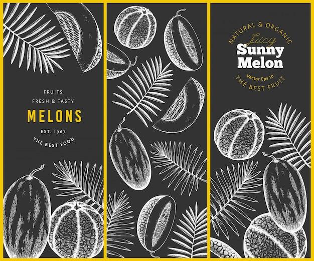 Set di disegni di meloni e angurie con foglie tropicali.