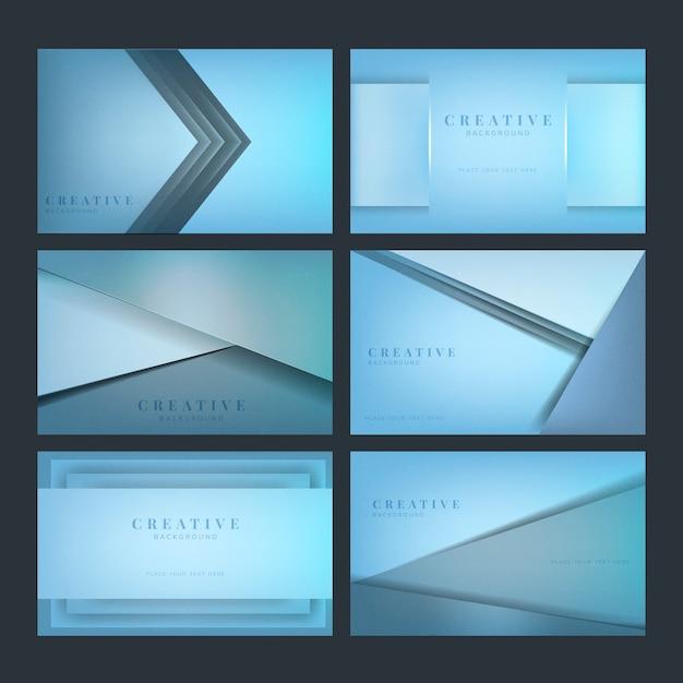 Set di disegni di sfondo creativo astratto in blu