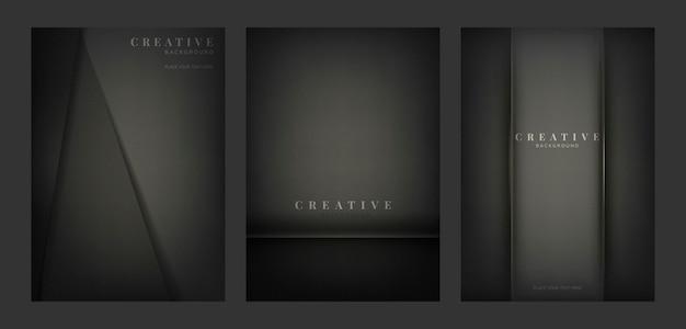 Set di disegni di sfondo creativo astratto in nero