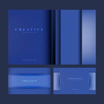 Set di disegni di sfondo creativo in blu