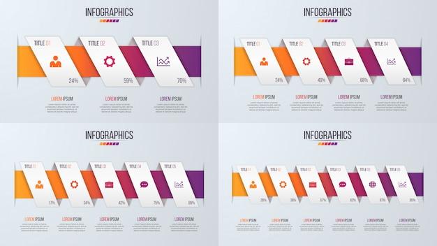 Set di disegni di timeline di infografica stile carta con 3-6 passaggi.