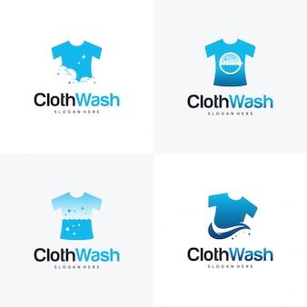 Set di disegni logo lavanderia, modello di concetto di logo di lavaggio panno