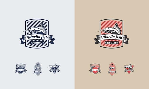 Set di disegni logo pesca d'epoca