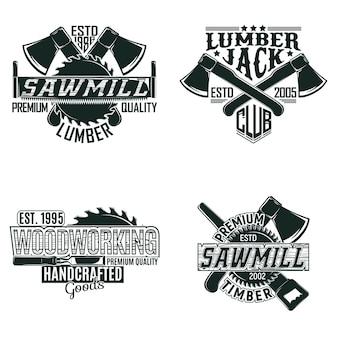 Set di disegni logo vintage per la lavorazione del legno, francobolli stampati grange, emblemi di tipografia di falegnameria creativa