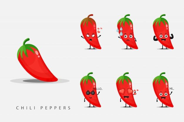 Set di disegni mascotte peperoncino rosso