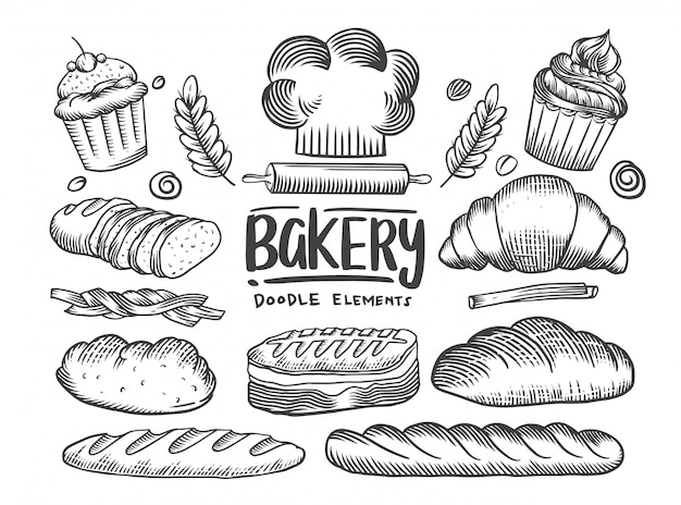 Set di disegni tema panetteria. torte, torte, collezione di pane e pasticceria. casa del pane. illustrazione di schizzo in bianco e nero