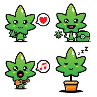 Set di disegni vettoriali di cannabis carino