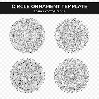 Set di disegno astratto ornamento con stile concetto mandala