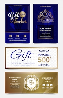 Set di disegno del buono regalo nei colori blu dorati con monogrammi