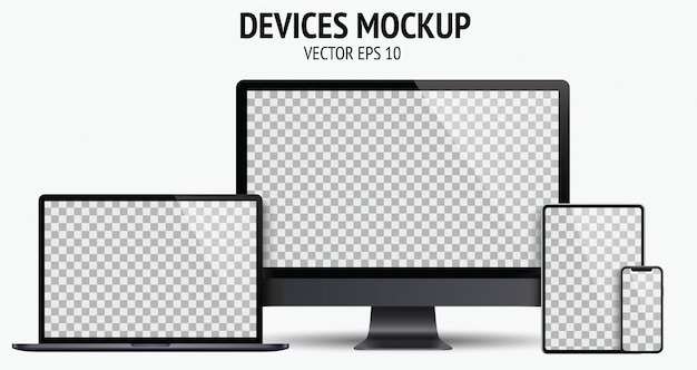 Set di dispositivi realistici di monitor, laptop, tablet, smartphone colore grigio scuro