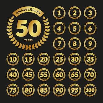 Set di distintivi di anniversario dell'annata dorata