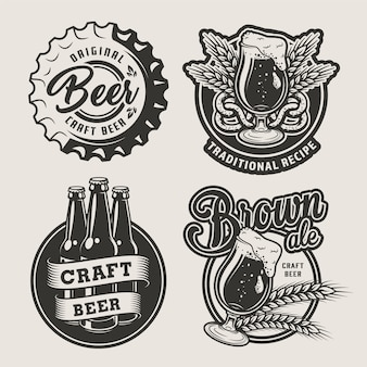 Set di distintivi di birra vintage