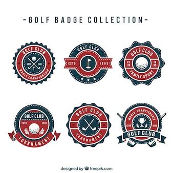 Set di distintivi di golf in stile piano