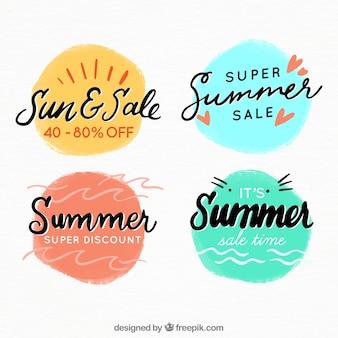 Set di distintivi di vendita di estate in stile acquerello