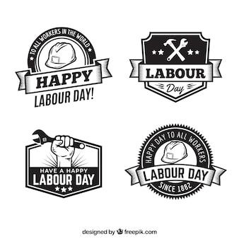 Set di distintivi festa del lavoro in stile vintage