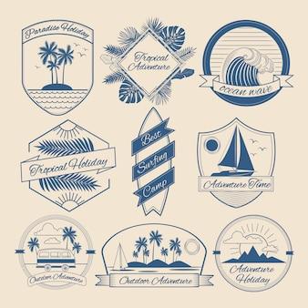 Set di distintivi vintage avventura all'aperto