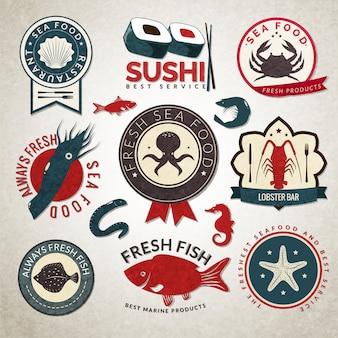 Set di distintivo di frutti di mare