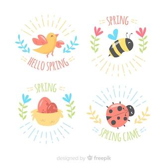 Set di distintivo di primavera animali disegnati a mano