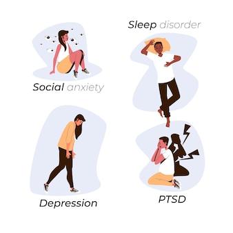 Set di disturbi mentali design piatto