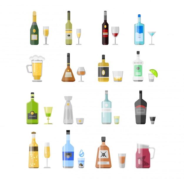 Set di diverse bottiglie di bevande alcoliche