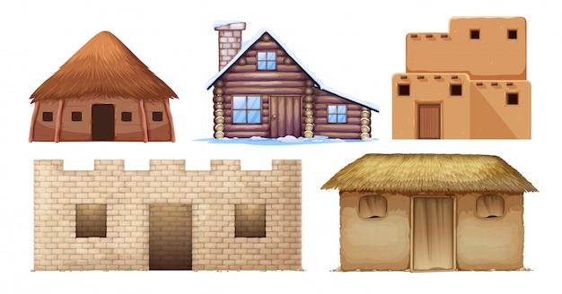 Set di diverse case di cultura