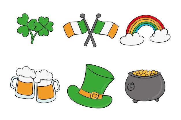 Set di diverse colorate st. elementi del giorno di patrick