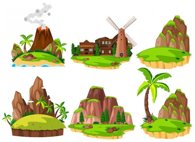Set di diverse isole