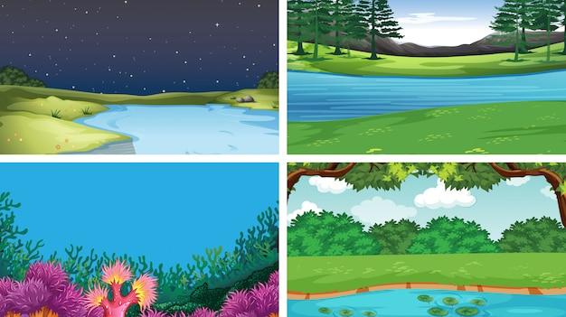 Set di diverse scene d'acqua sullo sfondo