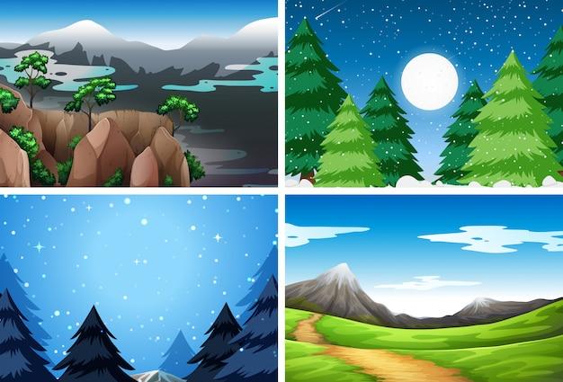 Set di diverse scene della natura