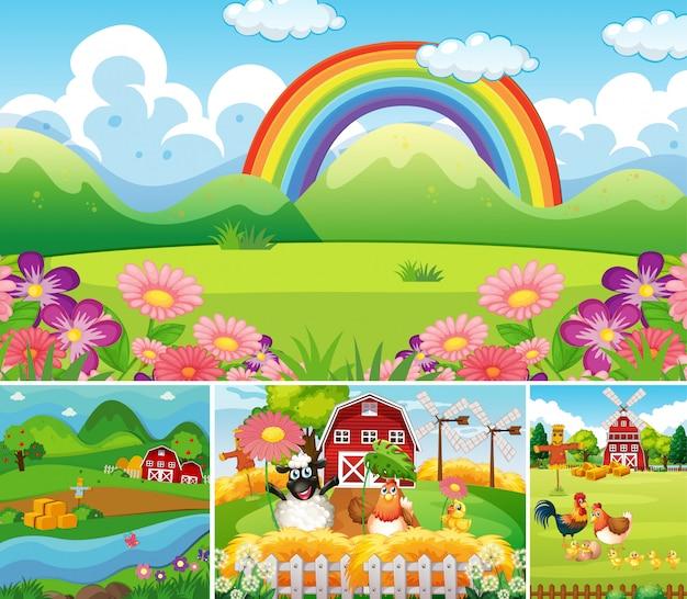 Set di diverse scene di fattoria con fattoria degli animali e arcobaleno in stile cartone animato