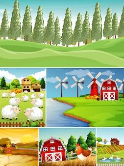 Set di diverse scene di fattoria con stile cartone animato fattoria degli animali