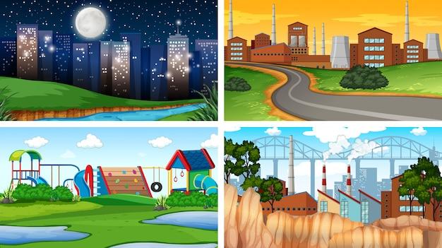 Set di diverse scene di sfondo o di sfondo