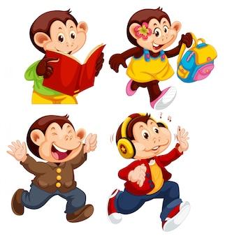 Set di diverse scimmie