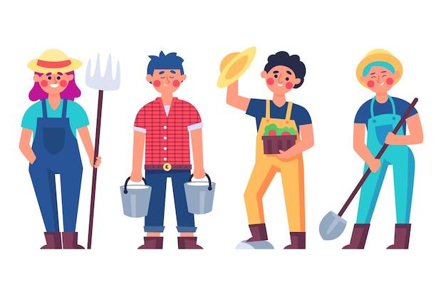 Set di diversi agricoltori attrezzati