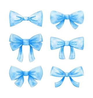 Set di diversi archi in azzurro dipinto ad acquerello