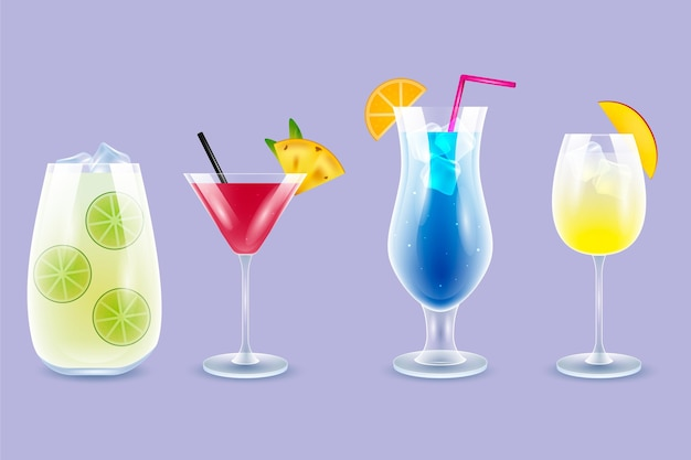 Set di diversi cocktail realistici