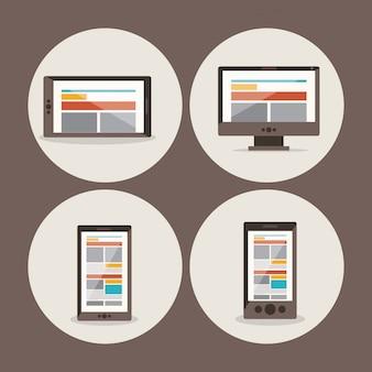 Set di diversi dispositivi: smartphone, tablet, computer e laptop