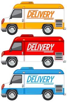 Set di diversi furgoni o camion di consegna