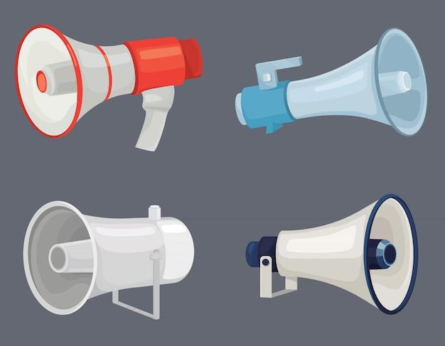 Set di diversi megafoni.